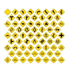 Big set of yellow road signs on white vector image vector image