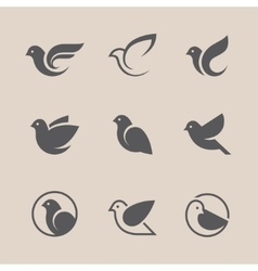 Black bird icons set vector image vector image