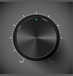 Black volume control button metall texture vector