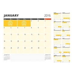Calendar planner template for 2016 year design vector
