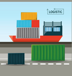 Cargo ship with container logistic vector