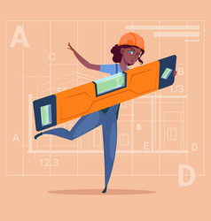 Cartoon woman builder holding carpenter level vector