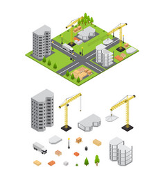 city landscape isometric view and element set vector image