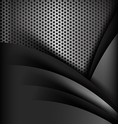 Dark chrome black and grey layer element vector image vector image