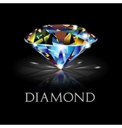 Diamond on black background vector