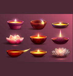 Diwali festive candles set vector