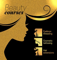 Gold beautiful girl silhouette of woman bea vector