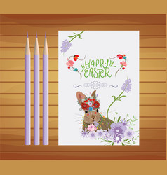 Happy easter invitation with floral design vector