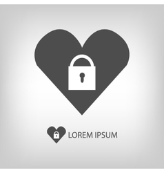 Heart with lock logo vector