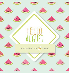 Hello august banner template included seamless vector