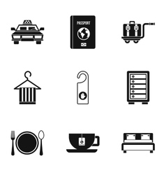 Hotel accommodation icons set simple style vector