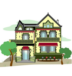 House with pink stors vector