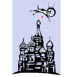 Laika over Red Square vector image vector image