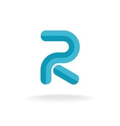 Letter r logo flat bevel technical style vector