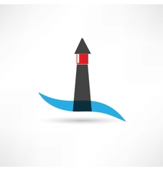 lighthouse and wave icon vector image