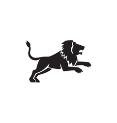 Lion Jumping Silhouette Side Retro vector image vector image