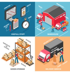 Logistics 2x2 Isometric Design Concept vector image vector image
