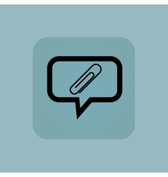 Pale blue paperclip message icon vector