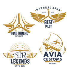 Retro icons for aviation airplane pilots vector