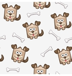 Seamless pattern square dog and bone 2 vector image vector image