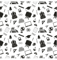 Seamless pattern with school black icons vector