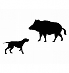 Setter and boar animals vector