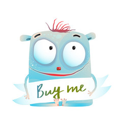 shy creature monster with sign vector image vector image