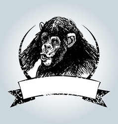 Vintage label with chimpanzee vector image vector image