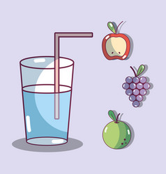 Water glass with fresh apple and grape fruits vector