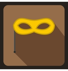 Yellow carnival mask on stick icon flat style vector image