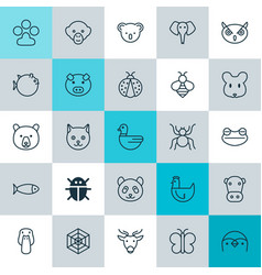 zoology icons set collection of fish beetle vector image vector image