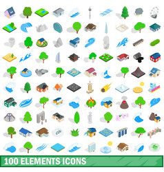 100 elements icons set isometric 3d style vector image
