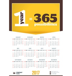 Wall calendar motivational poster for 2017 year vector