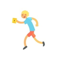 Boy running fast to deliver a letter vector