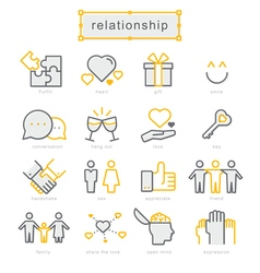 Thin line icons set relationship vector