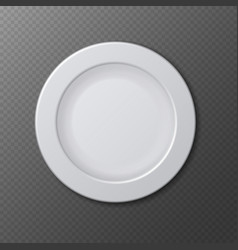 Isolated empty ceramic dish plate realistic vector