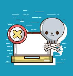 Laptop with skull with bones symbols vector