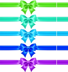 Silk bows in cool colors with ribbons vector
