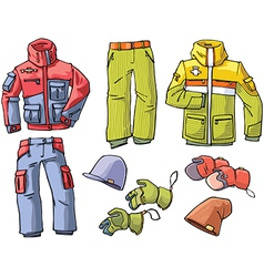Clothes for skiing and snowboarding vector