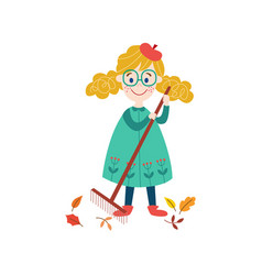 Girl collects autumn leaves by rake vector