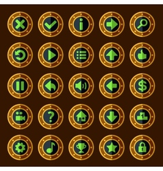 Flat steam punk game buttons vector