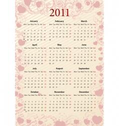 European pink calendar 2011  vector image