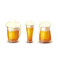 Set of beer in glass and mug realistic vector