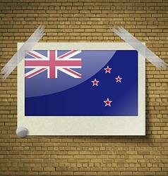 Flags new zelandat frame on a brick background vector