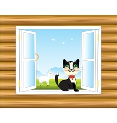 Window in wall vector
