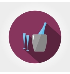 Bottle in ice bucket and glasses vector