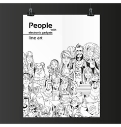 Crowd of people with electronic gadgets line art vector