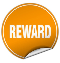 Reward round orange sticker isolated on white vector