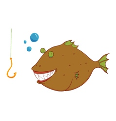 Hungry wild fish vector