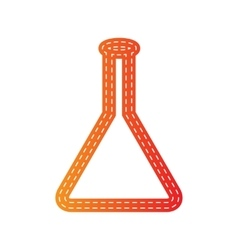 Conical flask sign orange applique isolated vector